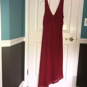 Red Asymmetrical Evening Dress